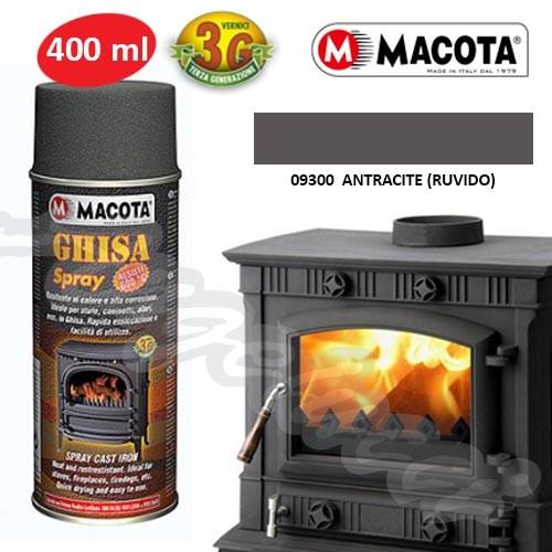 MACOTA 09300 - GHISA SPRAY VERNICE RESITENE AL CALORE 600 °C ANTRACITE RUVIDO 400ML.