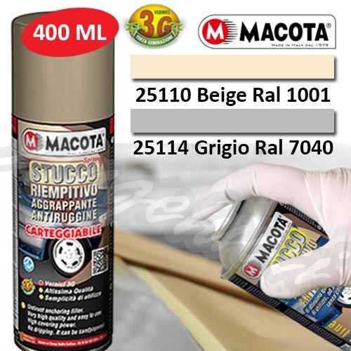 MACOTA 25110 - STUCCO RIEMPITIVO SPRAY CARTEGGIABILE (RAL 1001) BEIGE 400ML.
